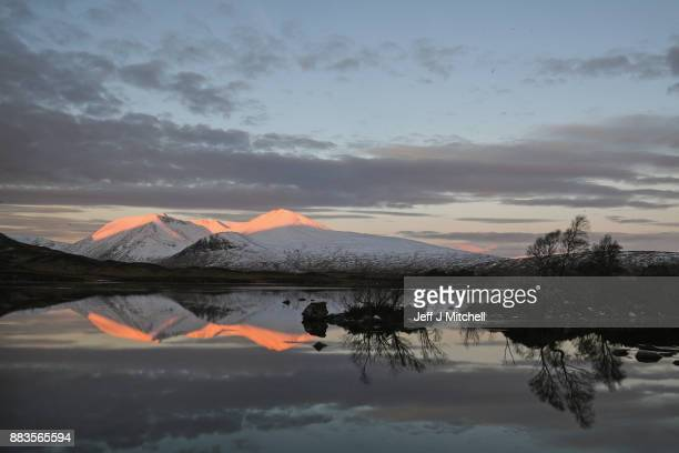 A view of The Blackmount across Lochan na Achlaise Rannoch Moore on December 1 2017 in Glen CoeScotland On the first day of the meteorological...