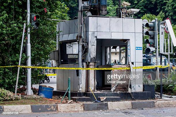 A view of the blast site after a series of explosions hit the Indonesia capital on January 14 2016 in Jakarta Indonesia Reports of explosions and...