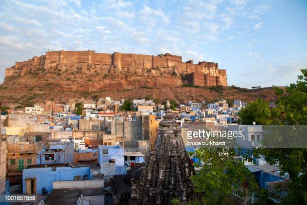 View of the blue houses and Meherangarh fort in Jodhpur, India
