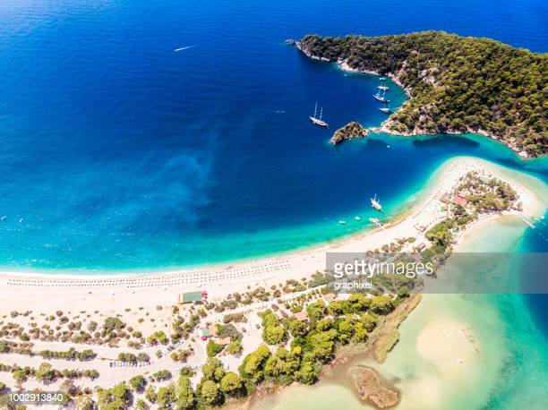 view of the blue lagoon, oludeniz, mugla, turkey - aegean turkey stock pictures, royalty-free photos & images