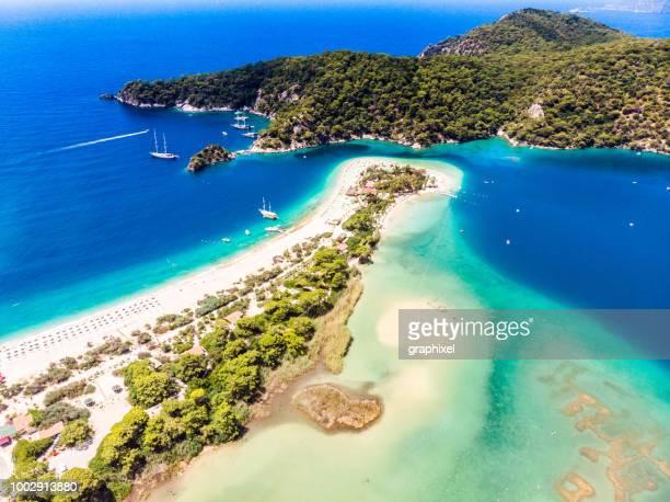 view of the blue lagoon, oludeniz, mugla, turkey - mugla province stock pictures, royalty-free photos & images