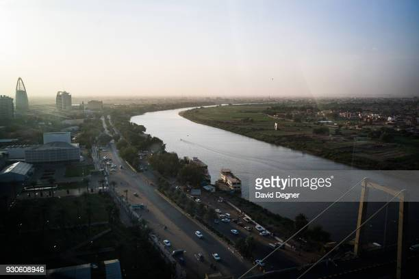 February 13: A view of the Blue Nile as it cuts between Khartoum and Khartoum North also known as Bahri on February 13, 2017 in Khartoum, Sudan. This...