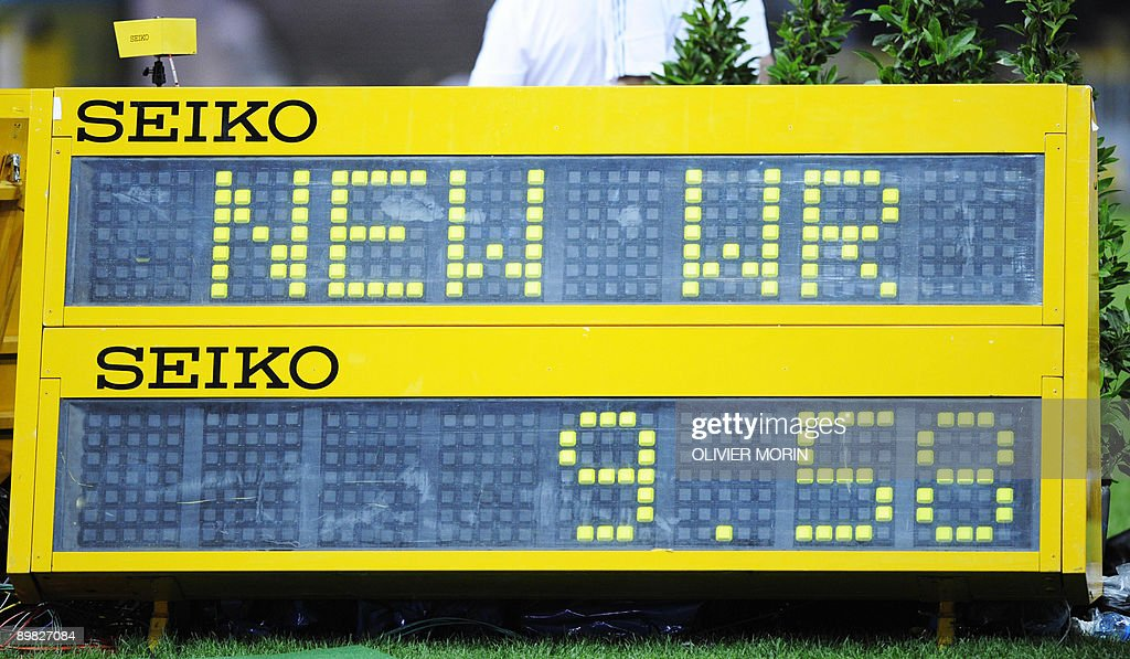 View of the board showing the new world record of 9.58 seconds by Jamaica's Usain Bolt after the men's 100m final race of the 2009 IAAF Athletics World Championships on August 16, 2009 in Berlin. Jamaican Usain Bolt set a new world record of 9.58 seconds in winning the final of the men's 100m at the World Athletics Championships. His time bettered his own world record of 9.69sec set in the Beijing Olympics final.