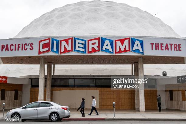 View of the boarded Arclight Hollywood Theater on April 13 in Los Angeles, California. - Pacific Theaters, operator of some 300 screens in...