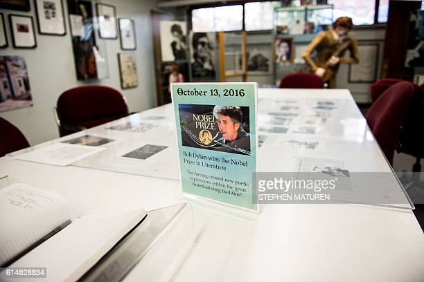 A view of the Bob Dylan exhibit at the Hibbing Public Library in Hibbing Minnesota on October 14 2016 Dylan who grew up in the rural mining town of...