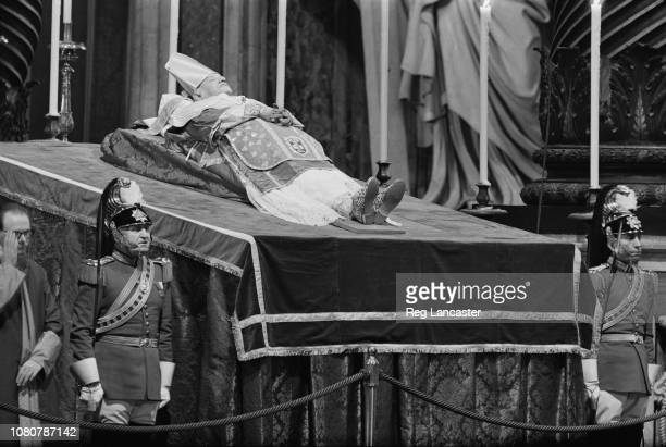 View of the body of Pope John XXIII pictured lying in state in St Peter's Basilica in Vatican City, Rome on 5th June 1963.