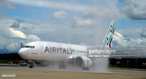 A view of the Boeing 737 Max plane of Air Italy during the unveiling of Air Italy's Boeing 737 Max at Malpensa airport on May 14 2018 in Varese Italy