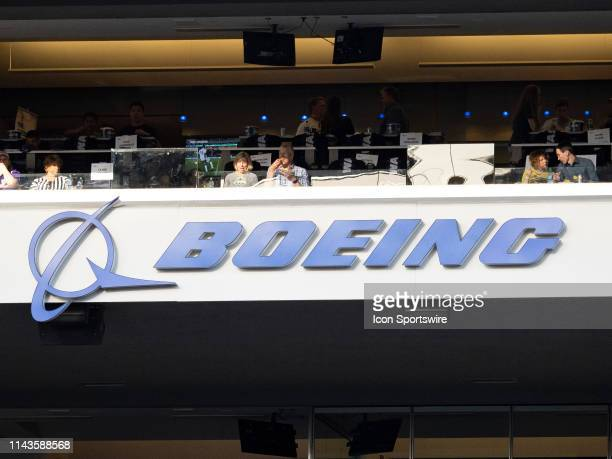 A view of the Boeing logo before the MLS regular season match between Houston Dynamo and Seattle Sounders FC on May 11 at CenturyLink Field in...