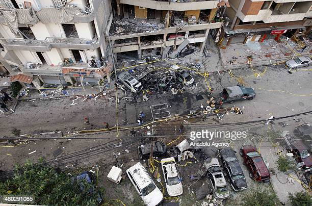 A view of the bomb explosion at the south part of the capital Beirut where 4 people died and 45 others got injured on January in Lebanon Hezbollah...