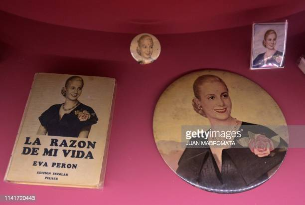 View of the book La razon de mi vida writen by former Argentina's First Lady Eva Peron exhibited at the Evita Museum in Buenos Aires on May 6 2019...