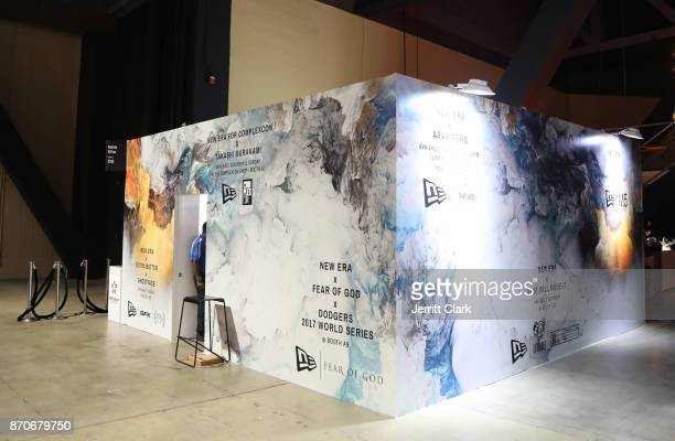 A view of the booth at New Era Cap 2017 Complex Con Ambassador Collab lounge with A$AP Ferg Mike Will MadeIT Jerry Lorenzo Takashi Murakami and...