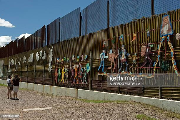 View of the border fence separating Mexico from the US in Nogales Sonora Mexico taken on July 30 2010 Across the border a controversial new...