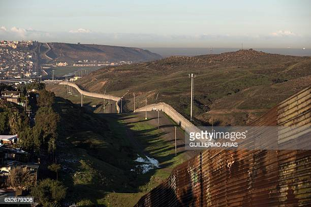 View of the border line between Mexico and the US in Tijuana northwestern Mexico on January 25 2017 US President Donald Trump will take a first step...