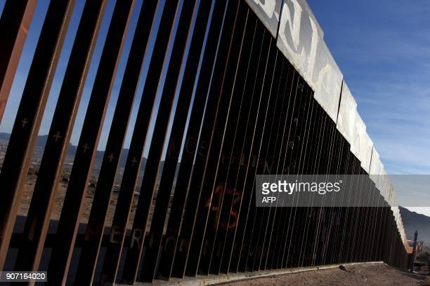 A view of the border wall between Mexico and the United States in Ciudad Juarez Chihuahua state Mexico on January 19 2018 The Mexican government...