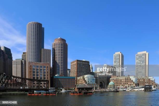 View of the Boston harbor skyline