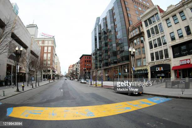 View of the Boston Marathon finish line on April 20, 2020 in Boston, Massachusetts. Due to the coronavirus pandemic, the race was rescheduled to...