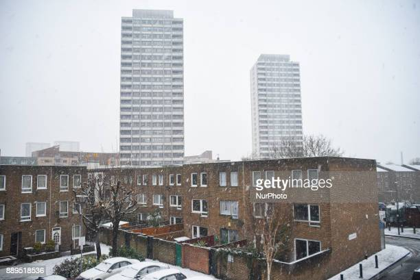 View of the Bow Neighbourhood under a snow fall London on December 10 2017 According to the BBC the deepest snowfall in the UK has been in...