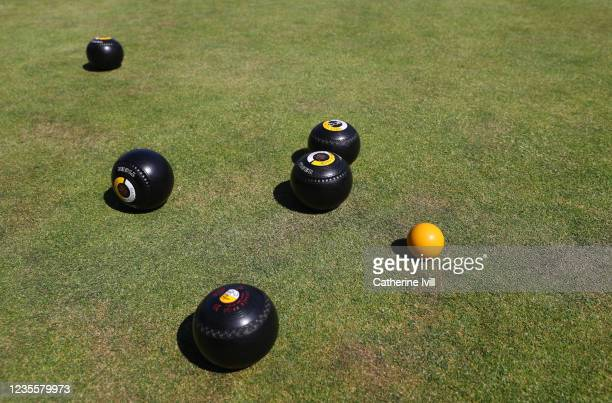 View of the bowling balls at Hazells Bowls Club on May 30, 2020 in Aylesbury, United Kingdom . The British government continues to ease the...