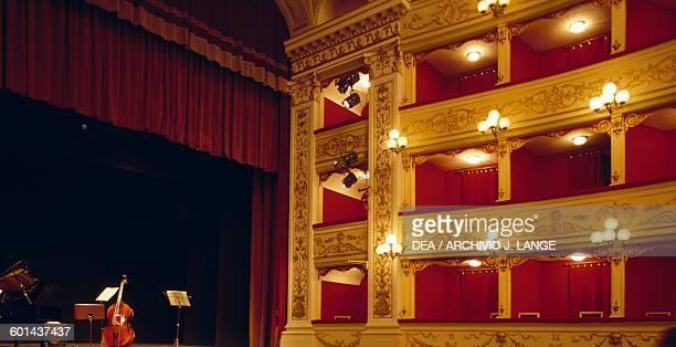 View of the boxes in the Marrucino theatre in Chieti Abruzzo Italy