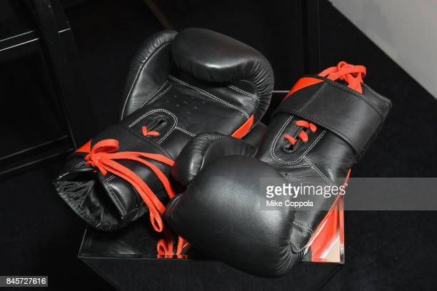 A view of the boxing gloves in the Reebok lounge September 2017 New York Fashion Week The Shows Day 5 on September 11 2017 in New York City