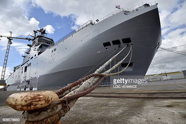 View of the BPC Anwar el Sadat military cruise ship is pictured after the handing over ceremony of the assault ship to Egypt on September 16, 2016 in...