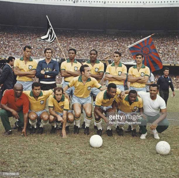 View of the Brazil national football team lined up on the pitch prior to their FIFA World Cup South America group 2 match with Paraguay at the...