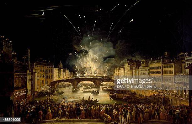 View of the bridge at Carraja with fireworks for the celebration of St John the Baptist Florence painting by Giovanni Signorini