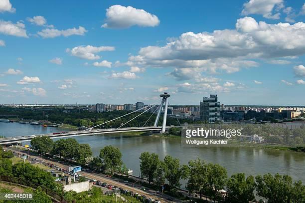 View of the bridge over the Danube River at Bratislava the capital of Slovakia