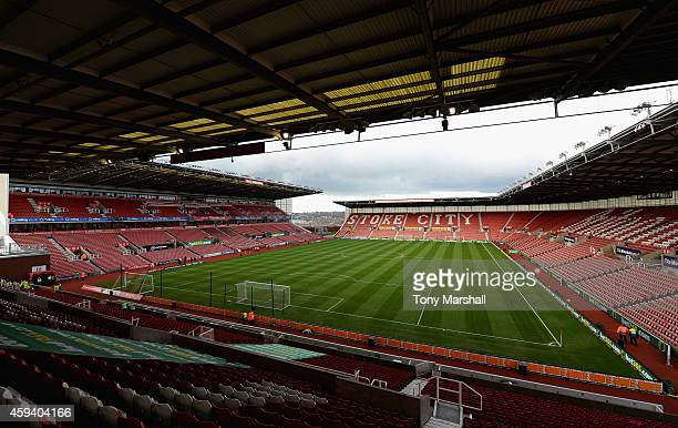 A view of The Britannia Stadium home of Stoke City FC ahead of the Barclays Premier League match between Stoke City and Burnley at Britannia Stadium...