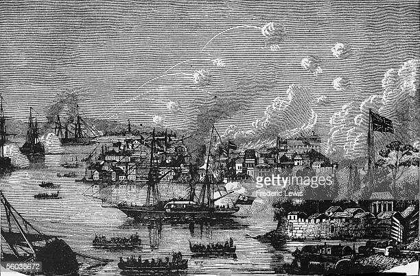 View of the British bombardment of the treaty port of Canton during the Second Opium War Canton China 1850s