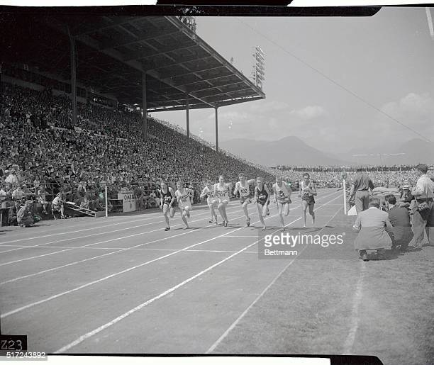 View of the British Empire Games one mile race. Shown here is the start of the race, with England's Roger Bannister shown fourth from the left...