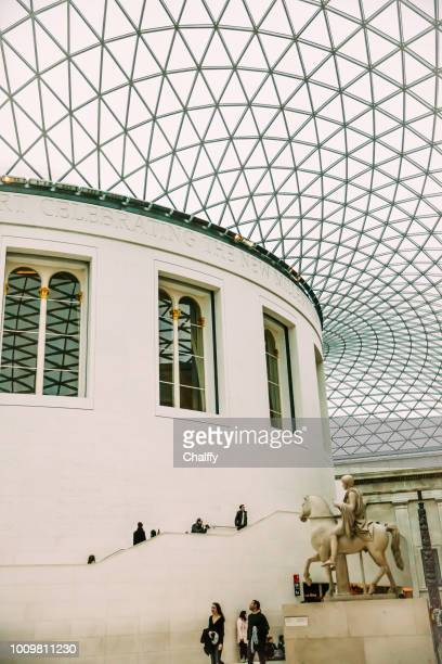 view of the british museum and its roof made of glass - british museum stock pictures, royalty-free photos & images