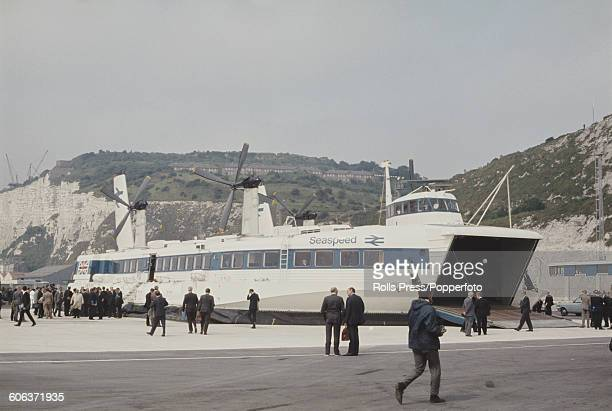View of the British rail/ SNCF owned Seaspeed Mountbatten class SR N4 hovercraft pictured with embarking passengers at the hoverport in Boulogne...