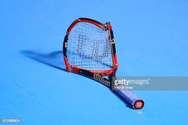 A view of the broken racket of Grigor Dimitrov of Bulgaria after throwing it to the floor during a singles match between Grigor Dimitrov of Bulgaria...