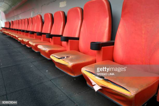 View of the broken seats inside the National Stadium of Brasilia Mane Garrincha on February 1 2018 The Mane Garrincha stadium named after one of...