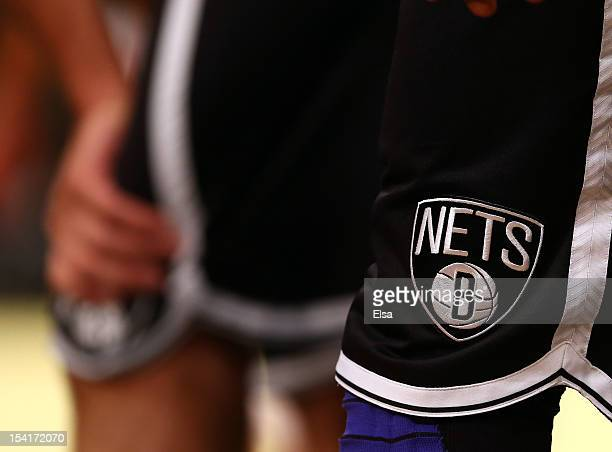 A view of the Brooklyn Nets logo on the player uniforms during the game against the Washington Wizards during a preseason game at the Barclays Center...