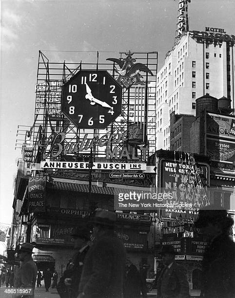 View of the Budweiser clock billboard advertising Budweiser Malt beverages from the Annheuser Busch company New York 1930