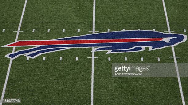 A view of the Buffalo Bills logo at midfield before their NFL game against the New York Jets at Ralph Wilson Stadium on November 6 2011 in Orchard...