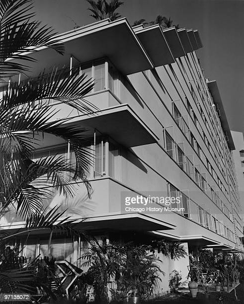 View of the building exterior showing different levels and landscaping at the Tamanaco Hotel in Caracas Venezuela 1958 Designed by Holabird Root
