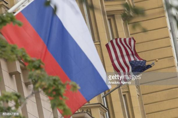 View of the building of the US Embassy is seen as it was suspended to use by Russian government after the US Senate approved on Thursday new...