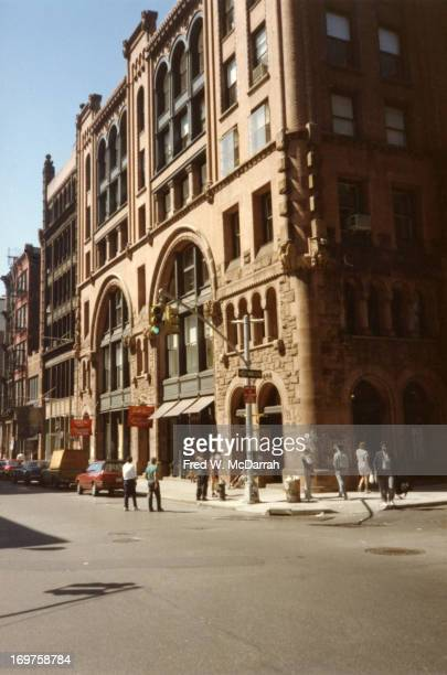 View of the building on the north west corner of the intersection of Broome and Wooster streets New York New York May 14 1988