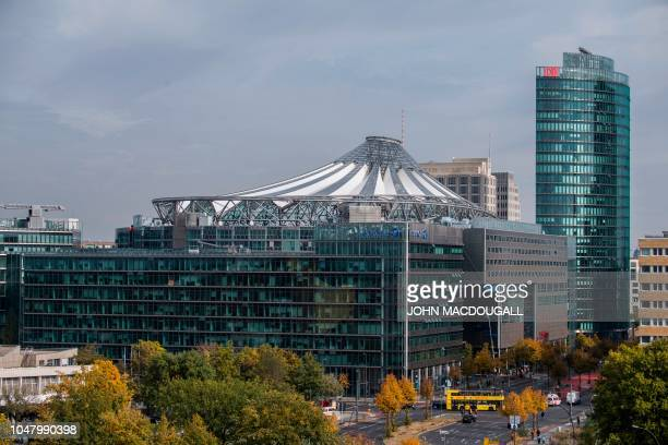 View of the buildings surrounding the Potsdamer Platz area, including the Sony Center and the deutsche Bahn Headquarters, taken on October 9, 2018.