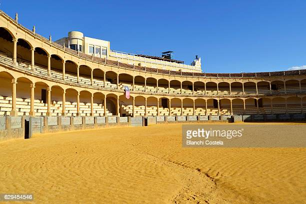 view of the bullring of ronda in malaga - ronda stock pictures, royalty-free photos & images