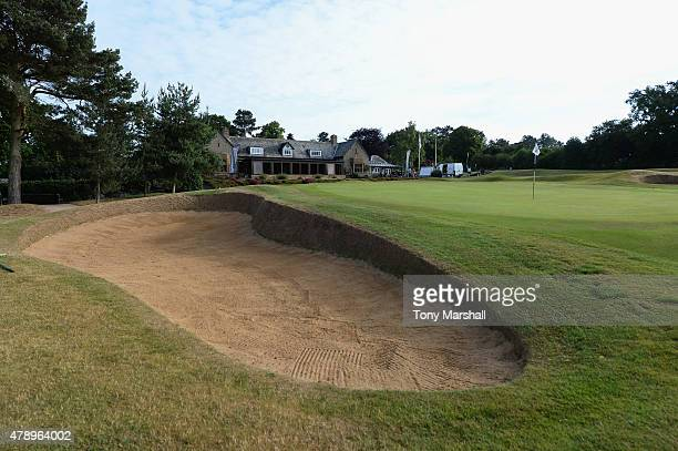 A view of the bunker on the 18th green infront of the Northamptonshire Club House during The Lombard Trophy South Qualifier at Northamptonshire...