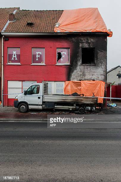A view of the burnt clubhouse of motorcycle club Hells Angels at the Krijgsbaan in Zwijndrecht on November 14 2013 The clubhouse burned partially...