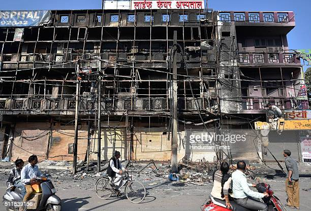 A view of the burnt Life Care Hospital after Jat protests for reservation in government services turned violent on February 23 2016 in Rohtak India...