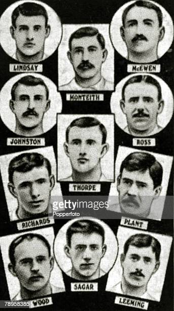 View of the Bury FC team that beat Derby County FC 60 to win the 1903 FA Cup Final at Crystal Palace on 18th April 1903 The Bury FC team members...