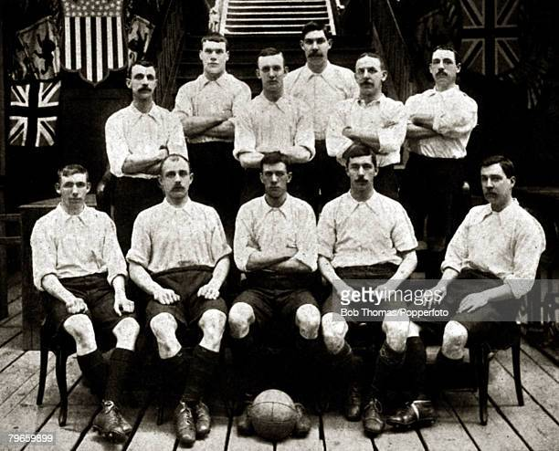 Sport Football Bury FC English FACup winners 1903 beating Derby County 60 at Crystal Palace Bury Back row LR JJohnson JLindsay FThorpe HMonteith...