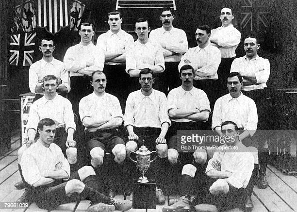 View of the Bury FC team that beat Derby County FC 60 to win the 1903 FA Cup Final at Crystal Palace on 18th April 1903 The winning Bury FC team...
