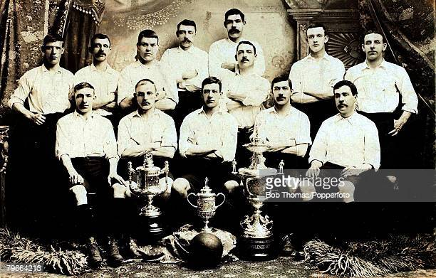 View of the Bury FC team that beat Derby County FC 60 to win the 1903 FA Cup Final at Crystal Palace on 18th April 1903 The Bury FC team members are...
